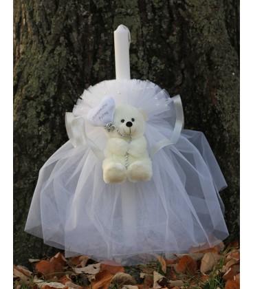 Lumanare botez personalizata ursulet cu inimioara
