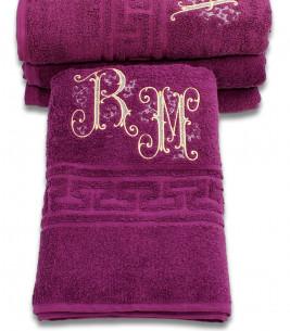More about Prosop de baie  mov-violet personalizat cu monograme