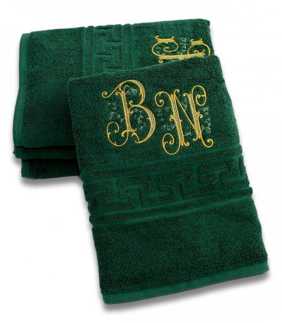 Prosop de baie 500g/mp verde personalizat cu monograme