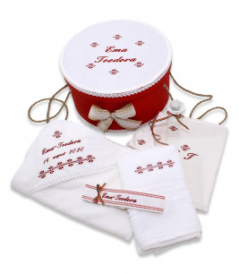 More about Set botez personalizat broderii traditionale cutie inclusa rosu
