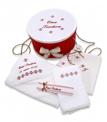 Trusouri botez traditionale - Set botez personalizat broderii traditionale cutie inclusa rosu
