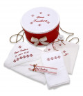 Set botez personalizat broderii traditionale cutie inclusa rosu