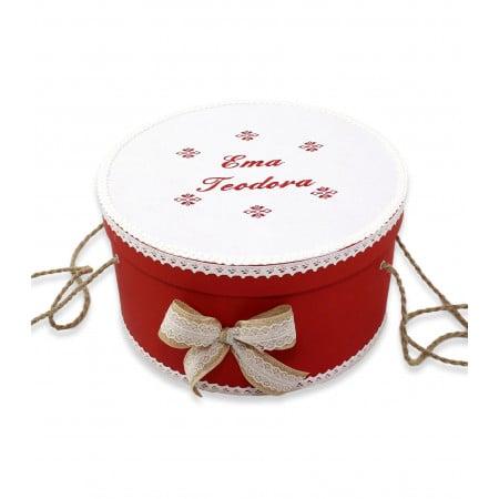 Trusouri botez traditionale - Set botez personalizat broderii traditionale cutie inclusa rosu