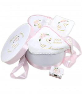 More about Trusou botez personalizat fetite cutie rotunda inclusa Lebada aurie