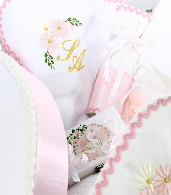 Trusou botez personalizat fetite cutie rotunda inclusa Lebada aurie