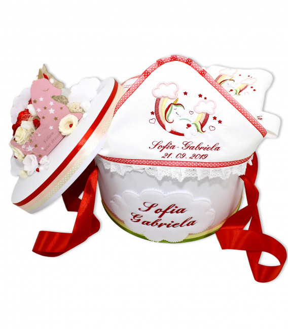 Trusou botez personalizat pentru fetite Unicorn rosu