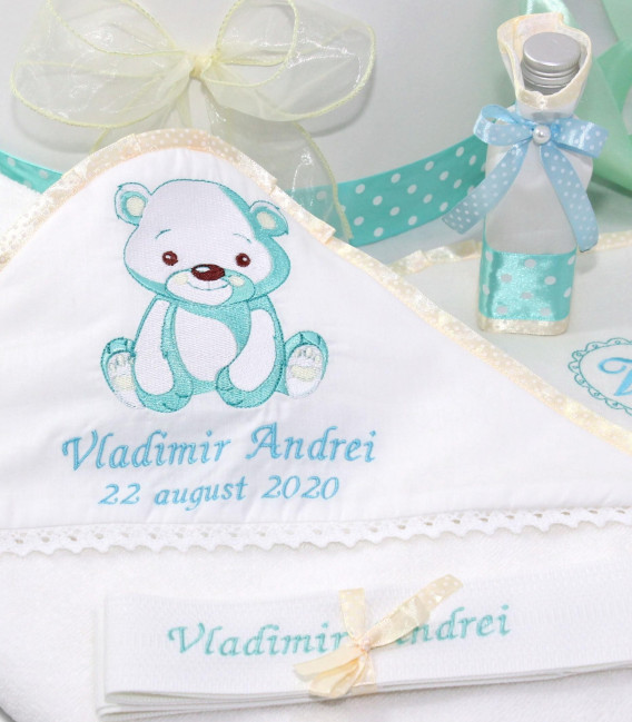 Set botez ursulet Vladimir personalizat