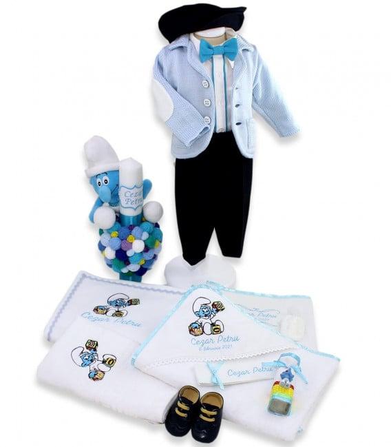 Set trusou bebe strumf personalizat cu jucarii  - Trusouri  Botez Complete