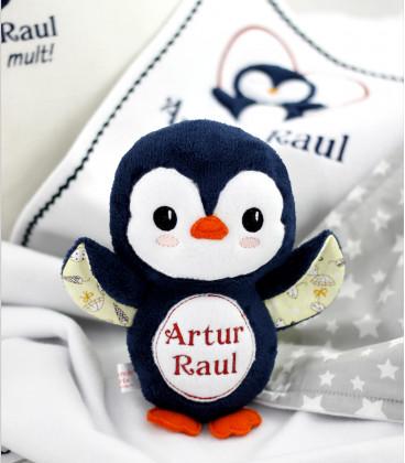 Set cadou personalizat 4 piese pentru baieti cu pinguin