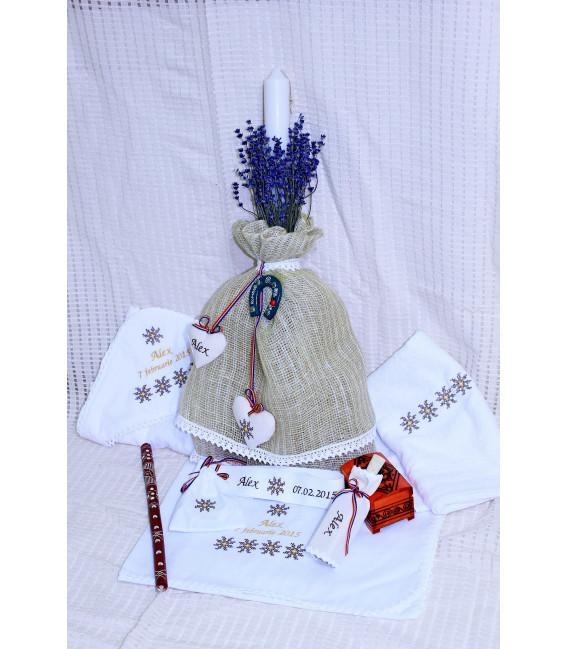 Lumanare botez traditionala personalizata cu lavanda