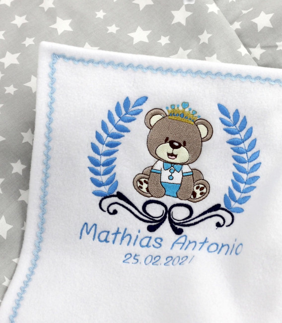 Set cadou personalizat cu ursulet pentru baieti 3 piese