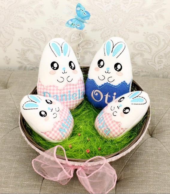 Cos cadou de Paste personalizat cu ouă brodate