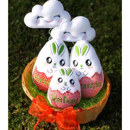 Cos cadou Paste Family personalizat cu oua brodate