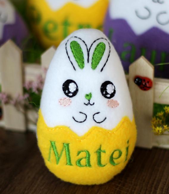 Jucarie personalizata iepuras ou de Paste cu nume Matei