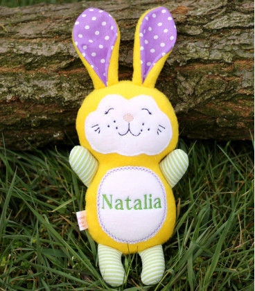 Jucarii personalizate bebelusi - Jucarie personalizata iepuras galben cu nume