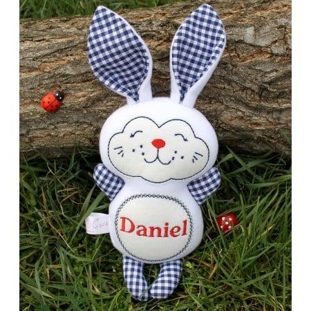 Jucarii personalizate bebelusi - Iepuras personalizat handmade Daniel