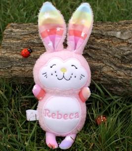 Jucarii personalizate bebelusi iepuras roz  Rebeca