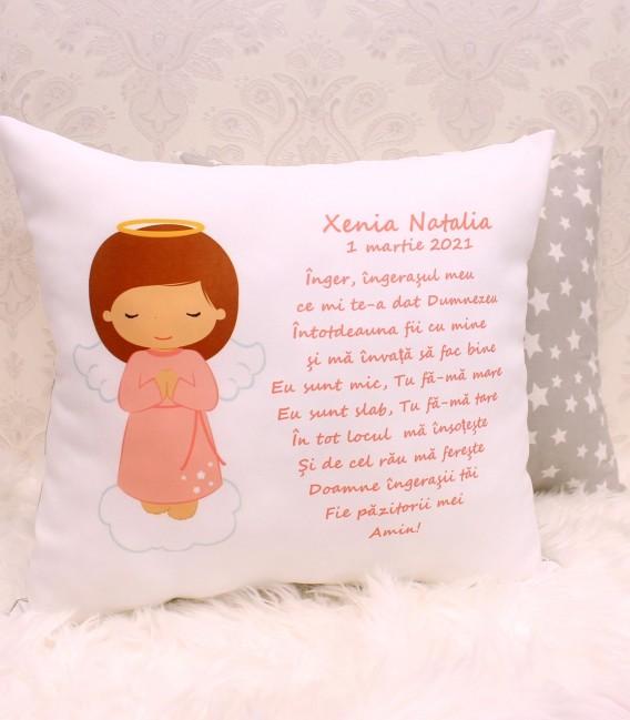 Perna personalizata copii cu rugaciunea Ingerasul pentru fetite