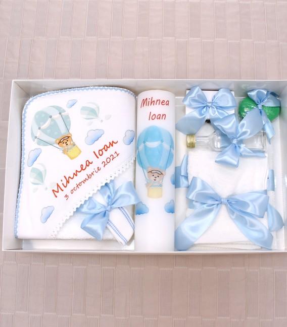 Trusou botez personalizat cu lumanare botez inclusa ursulet baloane
