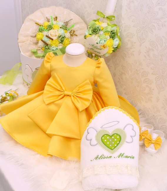 Set complet botez fetite personalizat inimioara angelica galben