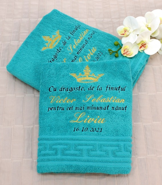 Prosoape personalizate pentru nasii de botez set 4 buc