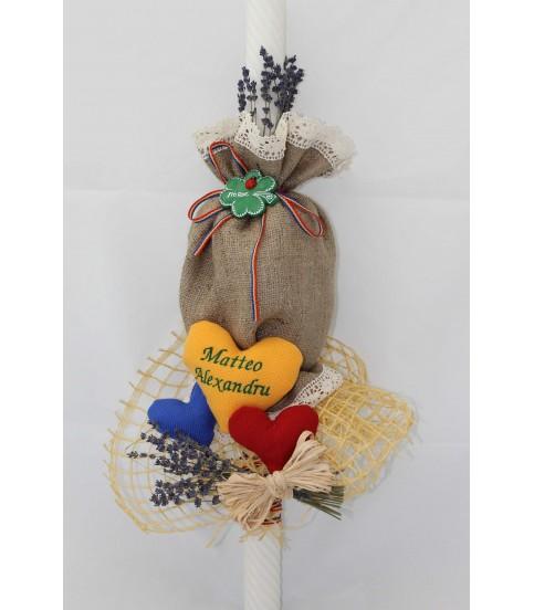 Lumanare pentru Botez Traditionala inimi tricolore
