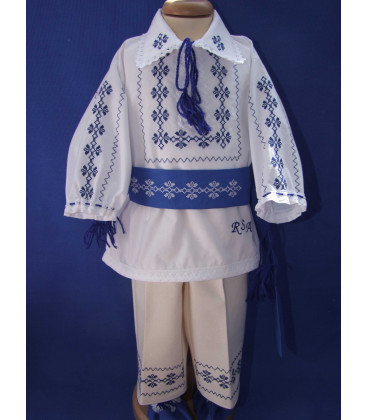 Costumas botez popular baieti albastru