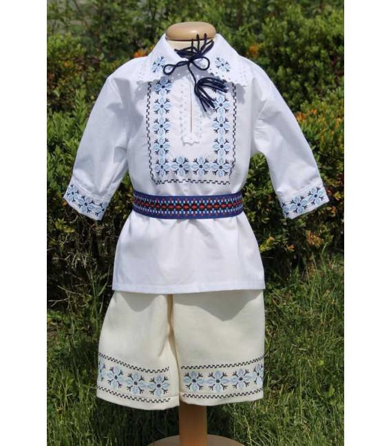 Costumas botez baieti traditional albastru