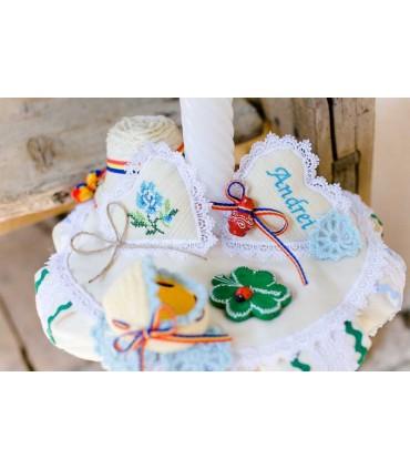 Trusou botez traditional baieti broderie floare producator Atelierele Cris  999,00Lei