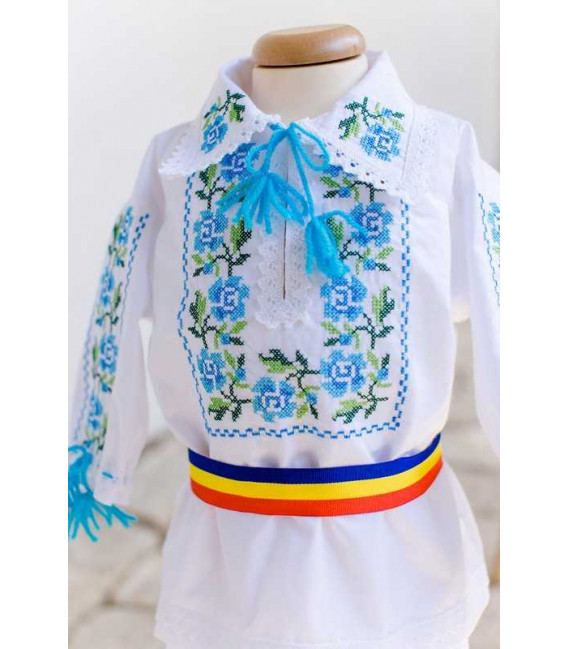 Trusouri botez traditionale - Trusou botez traditional baieti broderie floare