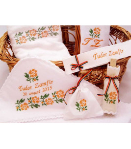 More about Trusou botez traditional broderie floare portocalie