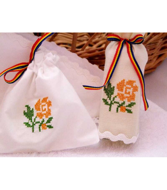 Trusouri botez traditionale - Trusou botez traditional broderie floare portocalie