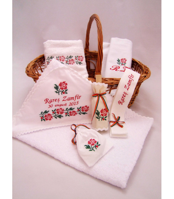 Trusouri botez traditionale - Trusou botez traditional broderie floare rosie