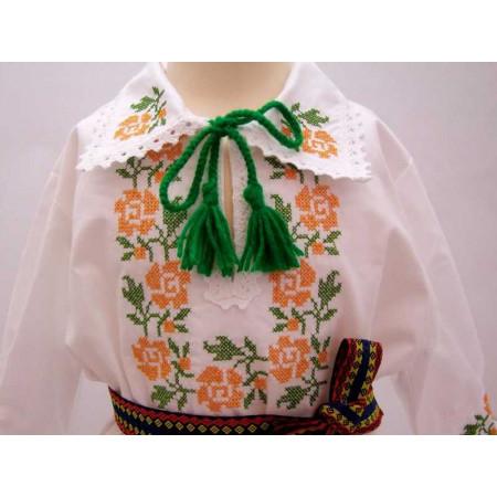 Costum national botez floare portocalie