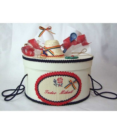 Cutie botez traditionala floare